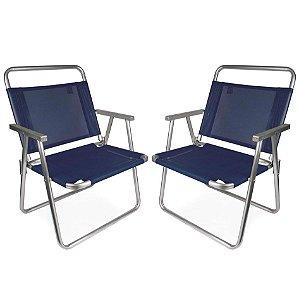 Kit 2 Cadeira De Praia Oversize Alumínio 140 Kg Piscina Camping - Mor - Azul Marinho