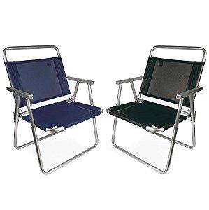 Kit 2 Cadeira De Praia Oversize Alumínio 140 Kg Piscina Camping - Mor - Preto-Azul Marinho