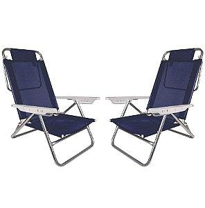 Kit 2 Cadeiras Summer Reclinável 6 pos Alumínio Praia Piscina Camping - Mor - Azul Marinho