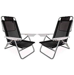 Kit 2 Cadeiras Summer Reclinável 6 pos Alumínio Praia Piscina Camping - Mor - Preto