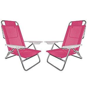 Kit 2 Cadeiras Summer Reclinável 6 pos Alumínio Praia Piscina Camping - Mor - Rosa