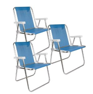 Kit 3 Cadeira Alta Alumínio Sannet Praia Jardim Camping Piscina - Mor - Azul