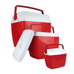 Kit 3 Caixa Térmica Cooler Combo 34 + 18 + 6 Litros - Mor - Vermelho