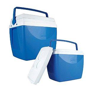 Kit Caixa Térmica 34 + 18 Litros Cooler Alça Porta Copos Bebidas - Mor - Azul
