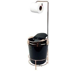 Suporte Porta Papel Higiênico lixeira Preta 5 Litros Com Tampa Basculante Rose Gold Banheiro - AMZ