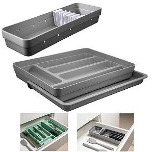 Kit Organizador Gavetas Talheres C/ Extensor Porta Talher Facas Cozinha Logic - Ou - Chumbo