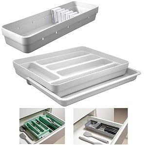 Kit Organizador Gavetas Talheres C/ Extensor Porta Talher Facas Cozinha Logic - Ou - Branco