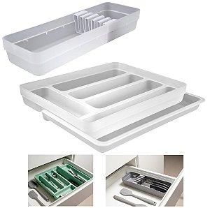 Kit Organizador Gavetas Talheres C/ Extensor Porta Talher Facas Cozinha Logic - Ou - Natural