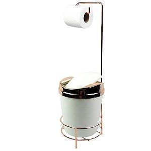 Suporte Porta Papel Higiênico lixeira Branco 5 Litros Com Tampa Basculante Rose Gold Banheiro - AMZ