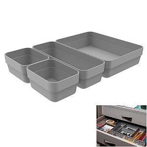 Kit 4 Cestos Organizador Gaveta Multiuso Plástico Quarto Cozinha Mini/M/G Logic - CLL 300 Ou - Chumbo