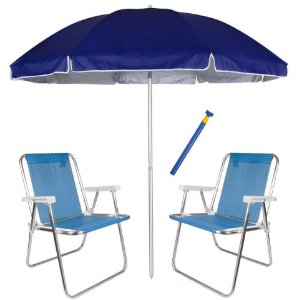 Kit Praia 2 Cadeira Alta Sannet Alum + Guarda Sol 2,6m Alum Azul + Saca Areia - Mor - Azul