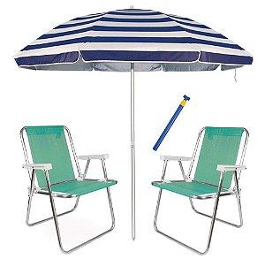 Kit Praia 2 Cadeira Alta Sannet alum + Guarda Sol 2,6m Listrado Alum + Saca Areia - Mor - Verde