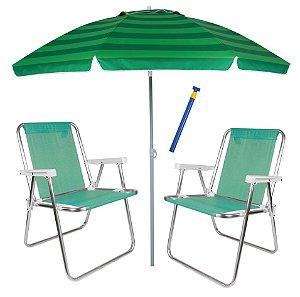 Kit Praia 2 Cadeira Alta Sannet Alumínio + Guarda Sol 2,4m Alum + Saca Areia Pressão - Mor - Verde