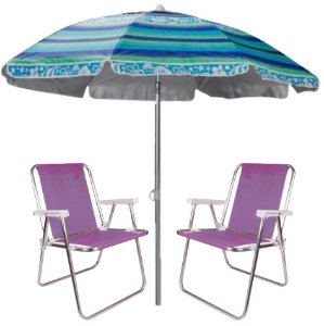 Kit Praia 2 Cadeira Alta Sannet Alumínio + Guarda Sol 2m Sombreiro Alumínio - Mor - Azul Florido