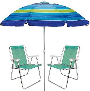 Kit Praia 2 Cadeira Alta Sannet Alumínio + Guarda Sol 2m Sombreiro Alumínio - Mor - Azul Listrado