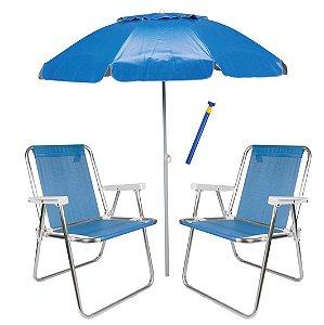 Kit Praia 2 Cadeira De Praia Alta Sannet + Guarda Sol Alumínio + Saca Areia - Mor - Azul
