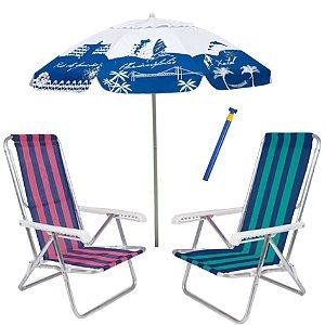 Kit Praia 2 Cadeira Reclinável 8 Pos Alumínio + Guarda Sol 1,8m Alum + Saca Areia - Mor - Azul