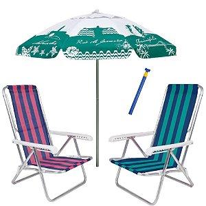 Kit Praia 2 Cadeira Reclinável 8 Pos Alumínio + Guarda Sol 1,8m Alum + Saca Areia - Mor - Verde