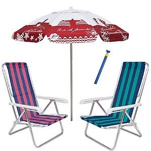 Kit Praia 2 Cadeira Reclinável 8 Pos Alumínio + Guarda Sol 1,8m Alum + Saca Areia - Mor - Vermelho