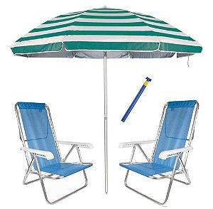 Kit Praia 2 Cadeira Reclinável 8 Pos Sannet Alum + Guarda Sol 2,6m + Saca Areia - Mor - Azul