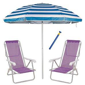 Kit Praia 2 Cadeira Reclinável 8 Pos Sannet Alum + Guarda Sol 2,6m + Saca Areia - Mor - Lilás