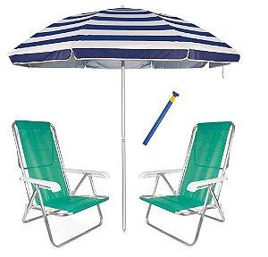 Kit Praia 2 Cadeira Reclinável 8 Pos Sannet Alum + Guarda Sol 2,6m + Saca Areia - Mor - Verde