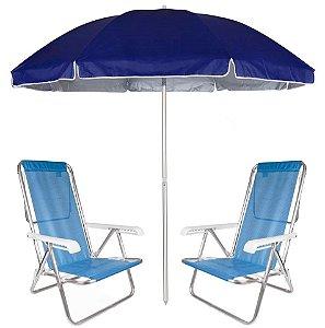 Kit Praia 2 Cadeira Reclinável 8 Pos Sannet Alumínio + Guarda Sol 2,6m Azul - Mor - Azul