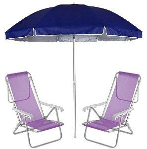 Kit Praia 2 Cadeira Reclinável 8 Pos Sannet Alumínio + Guarda Sol 2,6m Azul - Mor - Lilás