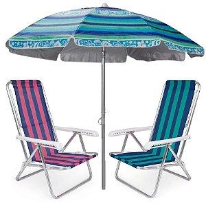 Kit Praia 2 Cadeira Reclinável 8 Posições Alumínio + Guarda Sol 2m Sombreiro Alum - Mor - Azul Florido