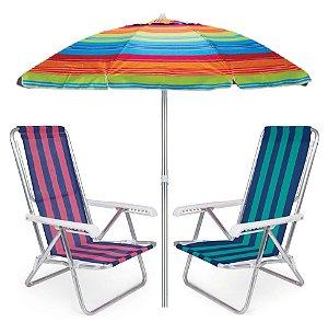 Kit Praia 2 Cadeira Reclinável 8 Posições Alumínio + Guarda Sol 2m Sombreiro Alum - Mor - Laranja Listrado