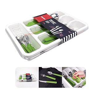 Conjunto Jogo Talheres 24 Peças + Organizador Branco Porta Garfo Faca Colher Cozinha - Taumer - Verde