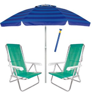 Kit Praia 2 Cadeira Reclinável Sannet Alum + Guarda Sol 2,4m Alum + Saca Areia - Mor - Azul-Verde
