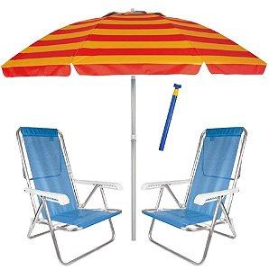 Kit Praia 2 Cadeira Reclinável Sannet Alum + Guarda Sol 2,4m Alum + Saca Areia - Mor - Azul-Vermelho