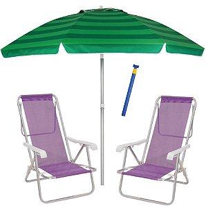 Kit Praia 2 Cadeira Reclinável Sannet Alum + Guarda Sol 2,4m Alum + Saca Areia - Mor - Verde-Lilás