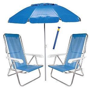 Kit Praia 2 Cadeira Reclinável Sannet Alum + Guarda Sol Bagum Alum + Saca Areia - Mor - Azul
