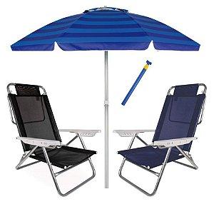 Kit Praia 2 Cadeira Summer Reclinável 6 Pos + Guarda Sol 2,4m + Saca Areia - Mor - Azul Listrado