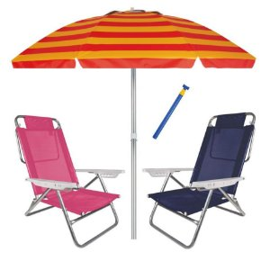 Kit Praia 2 Cadeira Summer Reclinável 6 Pos + Guarda Sol 2,4m + Saca Areia - Mor - Laranja Listrado