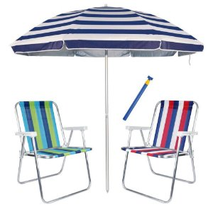 Kit Praia 2 Cadeiras Alta Alumínio + Guarda Sol 2,6m Listrado Alum + Saca Areia - Mor - Azul Marinho