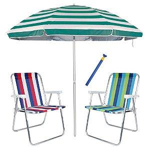 Kit Praia 2 Cadeiras Alta Alumínio + Guarda Sol 2,6m Listrado Alum + Saca Areia - Mor - Azul Turquesa