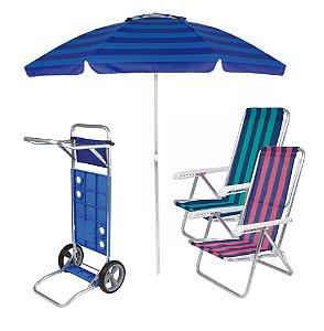 Kit Praia Carrinho De Praia + 2 Cadeira Reclinável 8 Pos Alum + Guarda Sol 2,4 Metros- Mor - Azul