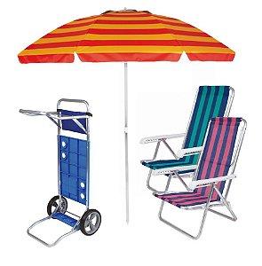 Kit Praia Carrinho De Praia + 2 Cadeira Reclinável 8 Pos Alum + Guarda Sol 2,4 Metros- Mor - Vermelho