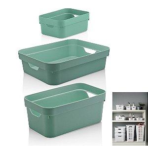 Kit 3 Caixa Organizadora Cube Cesto Armário Roupa Closet - KTE 005 Ou - Verde Menta