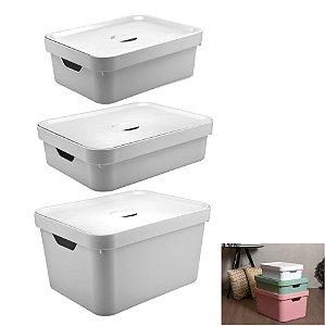 Kit 3 Caixa Organizadora Grande Cesto Com Tampa Roupa Brinquedo Plástico Cube - KTE 004 Ou - Branco