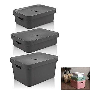 Kit 3 Caixa Organizadora Grande Cesto Com Tampa Roupa Brinquedo Plástico Cube - KTE 004 Ou - Chumbo