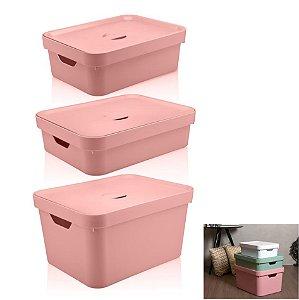 Kit 3 Caixa Organizadora Grande Cesto Com Tampa Roupa Brinquedo Plástico Cube - KTE 004 Ou - Rosa