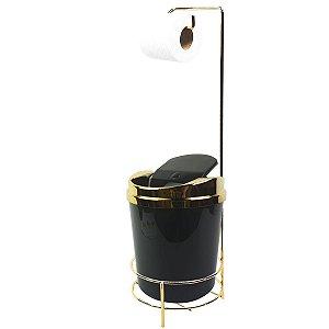 Suporte Porta Papel Higiênico lixeira Preto 5 Litros Com Tampa Basculante Dourado Banheiro - AMZ