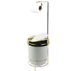 Suporte Porta Papel Higiênico lixeira Branco 5 Litros Com Tampa Basculante Dourado Banheiro - AMZ