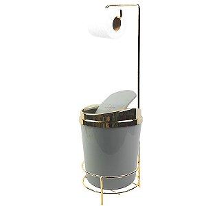 Suporte Porta Papel Higiênico lixeira Cinza 5 Litros Com Tampa Basculante Dourado Banheiro - AMZ