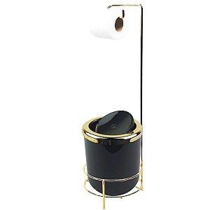 Suporte Porta Papel Higiênico lixeira Preta 5L Com Tampa Basculante Redonda Dourado Banheiro - AMZ