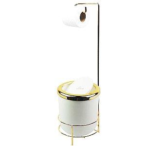 Suporte Porta Papel Higiênico lixeira Branca 5L Com Tampa Basculante Redonda Dourado Banheiro - AMZ
